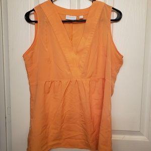 Tangerine sleeveless blouse